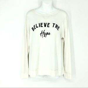 Justice Girls Believe The Hype White Sweater 14/16
